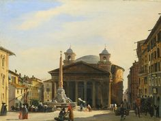Ippolito Caffi - View of the Pantheon, Rome x Local Art Galleries, European Paintings, Classical Architecture, Ancient Rome, Canvas Art Prints, Online Art, Art History, Taj Mahal, Images