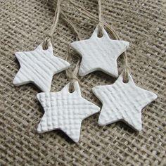Dough stars with pressed burlap texture.