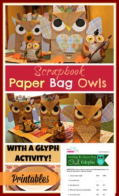 makethistheday.com.  A perfect fall activity for Open House or a classroom display.  Fun for homeschoolers too!  Scrapbook paper bag owls.