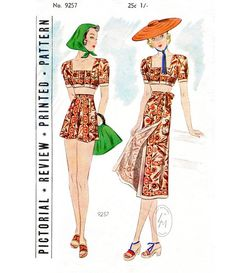3d9a47a3b13 Vintage sewing pattern 1920s 1930s beachwear crop top high waist shorts    wrap skirt 3 piece set   bust 32 34 36 38 40