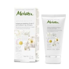 Melvita's creamy mask combines a complex of five white flowers with brightening properties and exfoliating silica microbeads