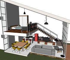 The industrial, chic loft conversion of a ski factoryThe conversion of this former ski factory into a breathtaking loft house required a lot of creativity, perseverance and a little humor. Loft Interior Design, Loft Design, Design Case, Design Design, Small House Design, Modern House Design, Small Loft Apartments, Loft Spaces, Mini Loft