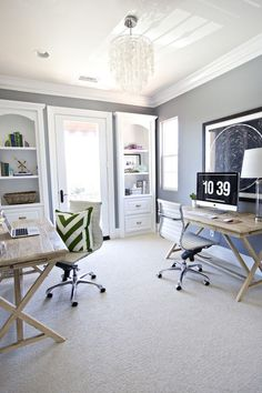 22 Creative Workspace Ideas for Couples via Brit + Co. Office DIY Decor, Office Decor, Office Ideas #DIY