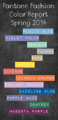 Pantone fashion color report for Spring 2014.. we've got a ... | Style