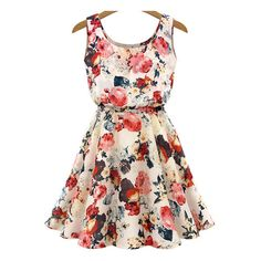 Sleeveless High Waist Florals Print Dress (€13) ❤ liked on Polyvore featuring dresses, vestidos, robes, short dresses, multicolor, cherry blossom dress, chiffon dress, women dresses, embellished dresses and mini dress