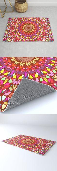 Happy Indian Summer Mandala Rug by David Zydd #MandalaRug #BestRugs #Mandala #Spiritual #FloralArt #Room #Dorm #MandalaDecoration (tags: indian, mandala, color, home, print-on-demand, room, flora, living room, decoration, energy, mandala room decor, designer rug, mandala rugs, floral graphic, bohemian decoration, yoga, bohemian, mandala art, mandala rug, floral design)