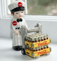 Coco Cola Delivery Boy Salt & Pepper Shaker Enesco Coke