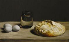 Blue Eggs & Bread, Oils on linen over panel, James Gillick