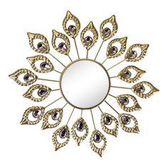 Mirror Wall Art, Metal Mirror, Mirror Set, Decoration, Art Decor, Feather Design, Round Mirrors, New Home Gifts, Frame