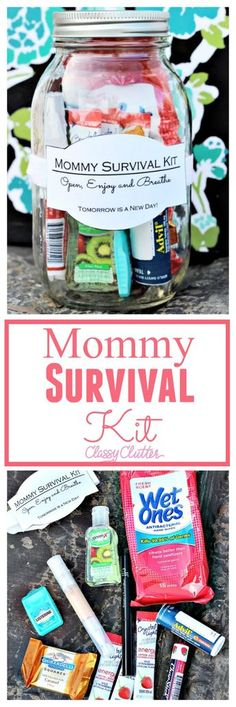 Mommy Survival Kit in a Jar. The perfect survival kit with everything you need! Baby Shower Gift Basket, Baby Shower Gifts, Baby Gifts, New Mommy Gift Basket, Diy Gifts For Mom, Gifts For Friends, Mother To Be Gifts, New Mommy Gifts, Mason Jar Gifts