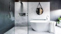 Modern Bathroom With Marble Walls And Shower Niche - Interior Design Ideas & Home Decorating Inspiration - moercar Minimalist Bathroom Design, Bathroom Design Luxury, Modern Minimalist, Minimalist Design, Ideas Baños, Decor Ideas, Toilette Design, Modern Contemporary Bathrooms, Contemporary Stairs