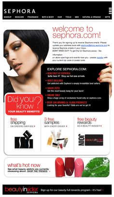 """love the color scheme of this welcome email from sephora, and the quick read of my sephora """"beauty benefits"""""""