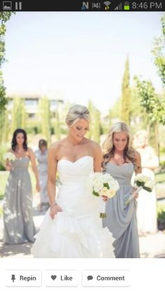 Summer wedding colors. Gray dresses but with a bright color for flowers Gray  Wedding Colors 56d0fd117559
