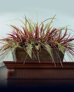 Grasses & Fern Armoire Topper, $119, (container sold separately) great for on top of kitchen cabinets, armoires, file cabinets, etc...