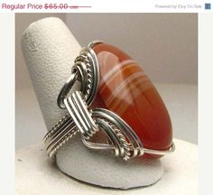 Easter Sale Handmade Wire Wrapped Red White Sardonyx by JandSGems, $58.50