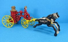 We are offering a cast iron Kenton Fire Pumper pulled by 3 horses. Length is inches standing inches tall with integral cast driver. Antique Toys, Vintage Antiques, Forte Apache, Cast Iron, It Cast, Toy 2, White Horses, Selling Antiques, Old Toys