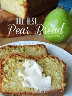 Substitute the flour and sugar. This is an easy homemade pear bread recipe. Its a quick bread recipe that is incredibly moist. It will literally melt-in-your-mouth. Just Desserts, Delicious Desserts, Yummy Food, Pear Dessert Recipes, Pear Bread, Pear Loaf Cake, Pear Quick Bread, Ginger Bread, Def Not