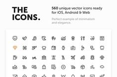 560 Premium Vector Icons by The Icons on @creativemarket