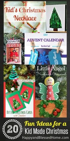 20 Fun Ideas for a Kid Made Christmas with Kids Christmas Crafts Christmas Decor and a $2,000 Cash Giveaway HappyandBlessedHome.com
