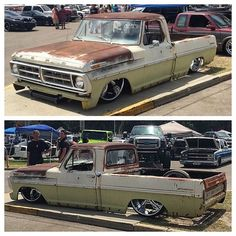 Hot Wheels - Cool Ford in the build by via the crew at not sure what the plans are with it but it' Bagged Trucks, Lowered Trucks, Old Ford Trucks, Pickup Trucks, Lifted Trucks, 4x4, Classic Ford Trucks, Old Fords, Chevy C10