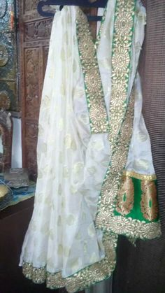 White n Green <3 Embroidred border allover d Saree.....  For any queries mail us at...... disha4u.ds@gmail.com