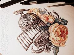 love the flowers and the bird cage.: