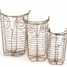 Vintage Owl Trio from Copper Wire, owls vintage wire sculpture baskets