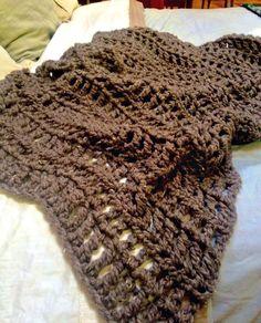 Crocheted Blanket THE WARREN Chunky Rustic Afghan Throw