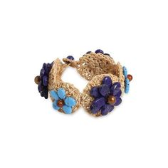 NOVICA Floral Hand-Crocheted Lapis Lazuli and Carnelian Bracelet ($43) ❤ liked on Polyvore featuring jewelry, bracelets, calcite, wristband, beaded jewelry, flower bracelet, macrame bracelet, carnelian bracelet and crochet flower bracelet