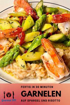 Perfekt für Garnelenliebhaber in der Spargelzeit - geht natürlich auch mit weißem Spargel. #garnelen #shrimps #gambas #spargel #risotto Chi Chi, Roast, Easy Meals