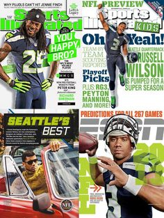 Seahawks QB Russell Wilson's GQ debut (Sep 2013), ESPN Cover, SI for Kids cover, &  CB Richard Sherman SI Cover