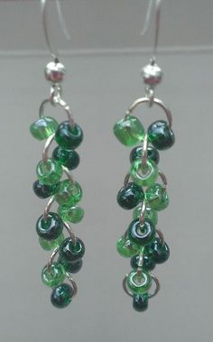 $9.99 FREE SHIPPING 3 Color Choices GREEN Multicolor Glass Beaded Earrings by MysteryDealMichelle