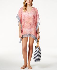 9fa3d1f60a Tommy Bahama Printed Sheer Poncho Cover-Up & Reviews - Swimwear - Women -  Macy's