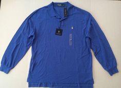 Polo Ralph Lauren Xl Long Sleeve 100% Cotton Polo Shirt Solid Blue #PoloRalphLauren #PoloRugby