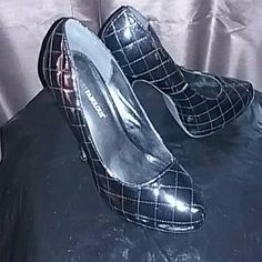 Black Patten Leather Heels Quilted pattern Shoes Heels