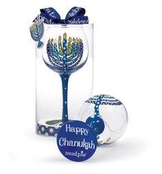 Mud Pie Happy Chanukah Decorated Wine Glass with Menorah