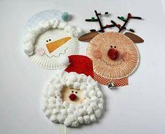 Paper plate Santa, Snowman, Rudolph