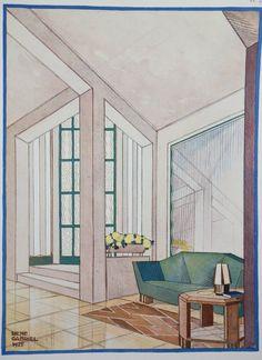 1925 Modern Portfolio Print Interieurs En Couleurs Vestibule Chair Rene Gabriel...