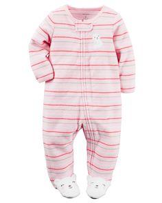Grenouillère en tissu bouclé à fermeture à glissière pour bébés filles | Carter's OshKosh Canada