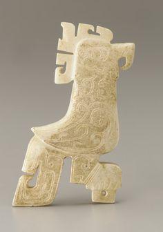 Pendant: Standing bird. China, Shang dynasty, Anyang period, ca. 1400-ca. 1050 BCE. Jade (nephrite).