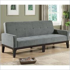 Coaster Casual Microfiber Sofa with Arms in Grey - This casual styled sofa bed is covered in a durable blue/gray microfiber fabric. Padded track arms and button tufted seating add to the casual styling. Exposed wood base is finished in cappuccino. Features: Blue/grey colored microfiber upholstery Cappuccino finished legs Padded track arms Button tufted seating