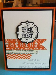 funkyj creations, Halloween card, trick or treat, washi tape, label bracket punch, Stampin' Up!