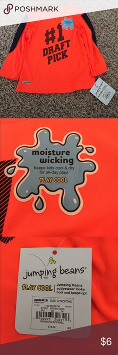 Moisture wicking long sleeved top NWT NWT orange and blue long sleeved. Moisture wicking. Great for the water and play in the summer! jumping beans Shirts & Tops Tees - Long Sleeve