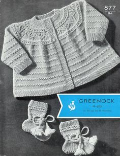 Baby Matinee Jacket and Bootees 0-9 months - Greenock 877 - PDF of Vintage Knitting Pattern