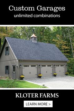 This custom 24x36 Elite 3-car garage was built according to our customer's exact specs. If you need a multi-car garage, bring us your ideas and we'll walk you through every step. #kloterfarms #garages Shed Design, Garage Design, Custom Garages, She Sheds, Built In Storage, Car Garage, Specs, Man Cave, Outdoor Living