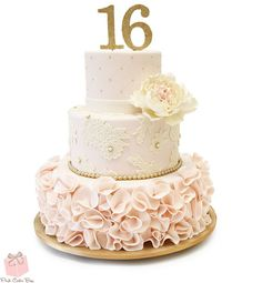 Sweet 16 Ruffle Cake, includes a combination of ivory peonies, quilted blush with piped gold dots, lace applique and large blush ruffle. Colors included light pink and white along with our signature pink velvet cake with vanilla buttercream. Sweet Sixteen Cakes, Sweet 16 Cakes, Sweet Sixteen Parties, Sweet Sixteen Dresses, Sweet 16 Birthday Cake, Birthday Cake Toppers, 16th Birthday, Birthday Box, 15 Birthday Cakes