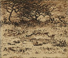 Winter Landscape,1855–65, Théodore Rousseau, pen and brown ink on paper.