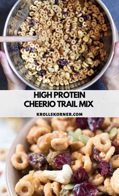 This gluten free high protein is made with simple ingredients and is so easy to make. Perfect for on the go snacks or desk snacks. A healthy homemade recipe that's better than store bought trail mix! Healthy Snacks To Buy, On The Go Snacks, Snacks For Work, Good Healthy Recipes, Easy Snacks, Healthy Snack Mixes, Healthy Snacks For Traveling, Healthy Drinks, High Protein Snacks On The Go