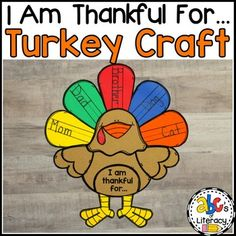 "Are you looking for a fun, Thanksgiving craftivity? This ""I Am Thankful For."" Turkey Craft and Writing Activity is a cute and creative way to get your students to think and write about what they are thankful for this season."