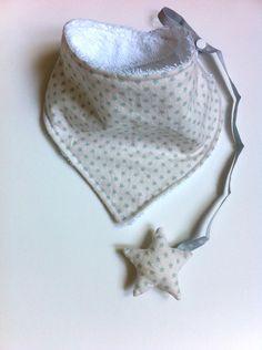 Bandana + Chupetero forma estrella, tejido star teal